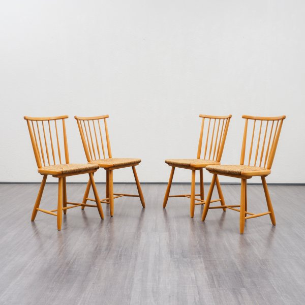 Velvet-Point - stühle 4er Set 50er Jahre Massivholzstühle, A ...