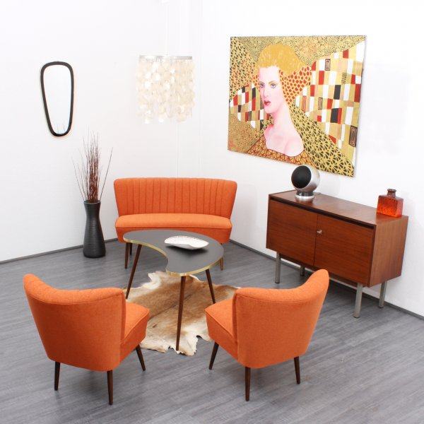 Velvet point seating 50s style cocktail sofa orange for Sofa karlsruhe